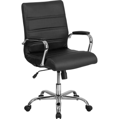 Mid-Back Black Leather Chair