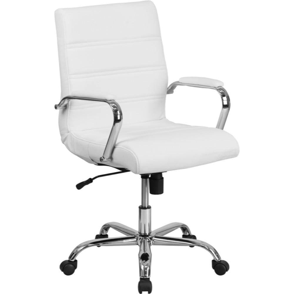 Mid-Back White Leather Chair