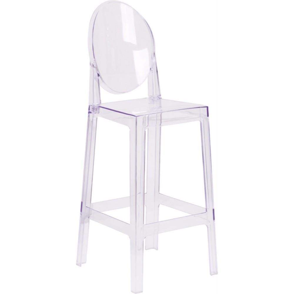 Ghost Barstool in Transparent Crystal with Oval Back [OW-GHOSTBACK-29-GG]