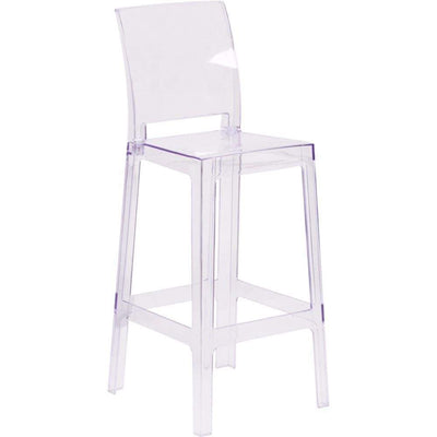 Ghost Barstool in Transparent Crystal with Square Back [OW-SQUAREBACK-29-GG]