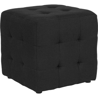 Avendale Tufted Upholstered Ottoman Pouf in Black Fabric FLH-QY-S02-BK-GG