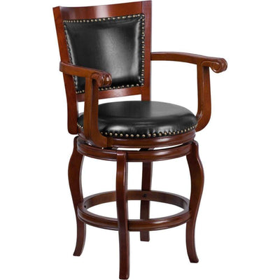 26'' High Cherry Wood Counter Height Stool with Black Leather Swivel Seat
