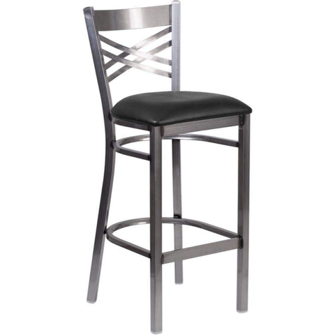 HERCULES Series Clear Coated ''X'' Back Metal Restaurant Barstool Black and Gray