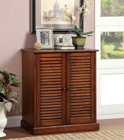 Double Door Solid Wood Shoe Cabinet with Blocked Panel Feet, Brown -CM-AC213A By Casagear Home