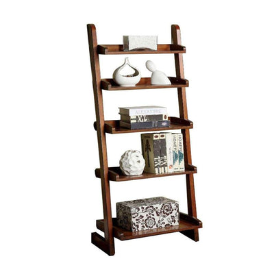Lugo Transitional Style Ladder Shelf, Antique Oak Finish By Casagear Home