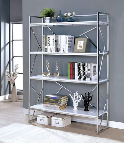 Four Shelf Metal Bookcase with Geometric Sides And Back Design, White and Silver -CM-AC6049 By Casagear Home
