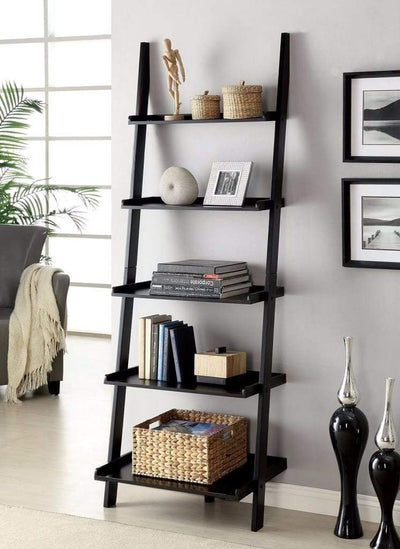Sion Contemporary Ladder Shelf, Black Finish By Casagear Home
