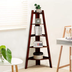Lyss Contemporary Ladder Shelf In Cherry Finish