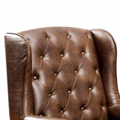 Vaugh Traditional Wing Accent Chair In Nail Head Rustic Brown Finish FOA-CM-AC6801BR