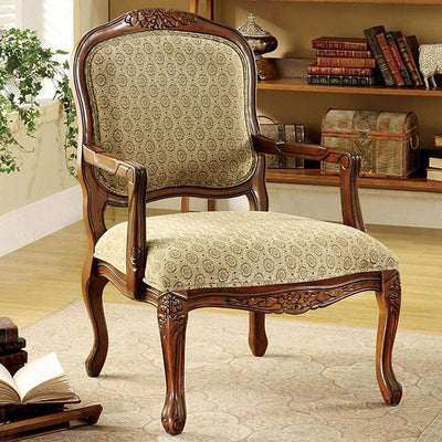 Quintus Traditional Accent Chair , Antique Oak By Casagear Home