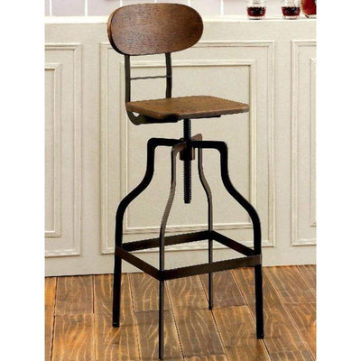 Industrial Style Wooden Swivel Bar Stool With Black Metal Base, Brown