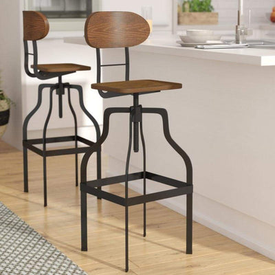 Industrial Style Wooden Swivel Bar Stool With Black Metal Base Brown FOA-CM-BR6233A