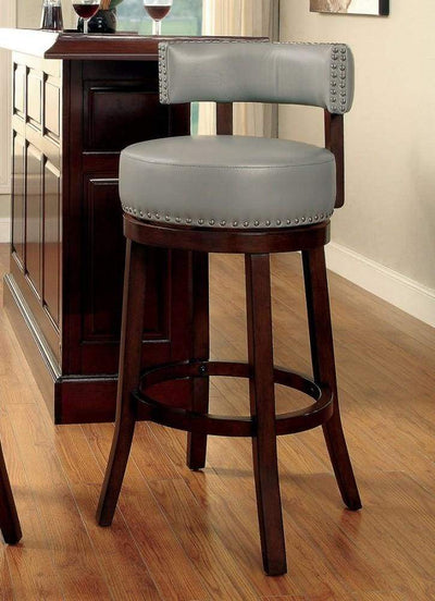 "Shirley Contemporary 29"" Barstool With pu Cushion, Gray Finish, Set of 2 By Casagear Home"