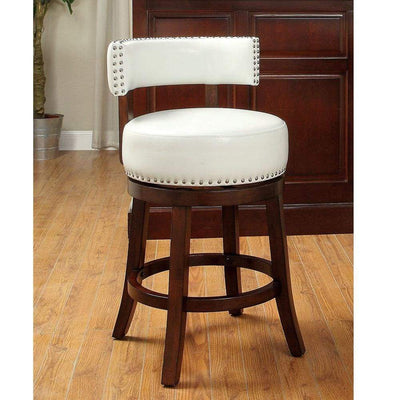 "Shirley Contemporary 24"" Barstool With pu Cushion, White Finish, Set of 2 By Casagear Home"