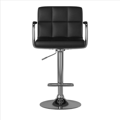 Corfu Contemporary Bar Chair With Arm, Black By Casagear Home