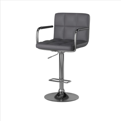 Corfu Contemporary Bar Stool With Arm In Gray By Casagear Home