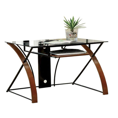 Baden Transitional Style Computer Desk , Oak and Black By Casagear Home