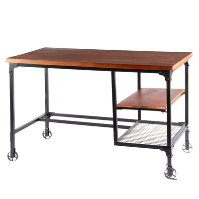 Industrial Style Wood and Metal Desk with Two Bottom Shelves Brown and Black By Benzara FOA-CM-DK6276