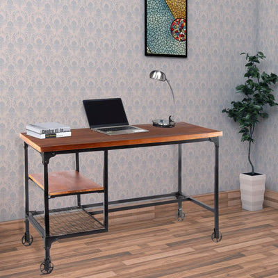 Industrial Style Wood and Metal Desk with Two Bottom Shelves, Brown and Black By Benzara
