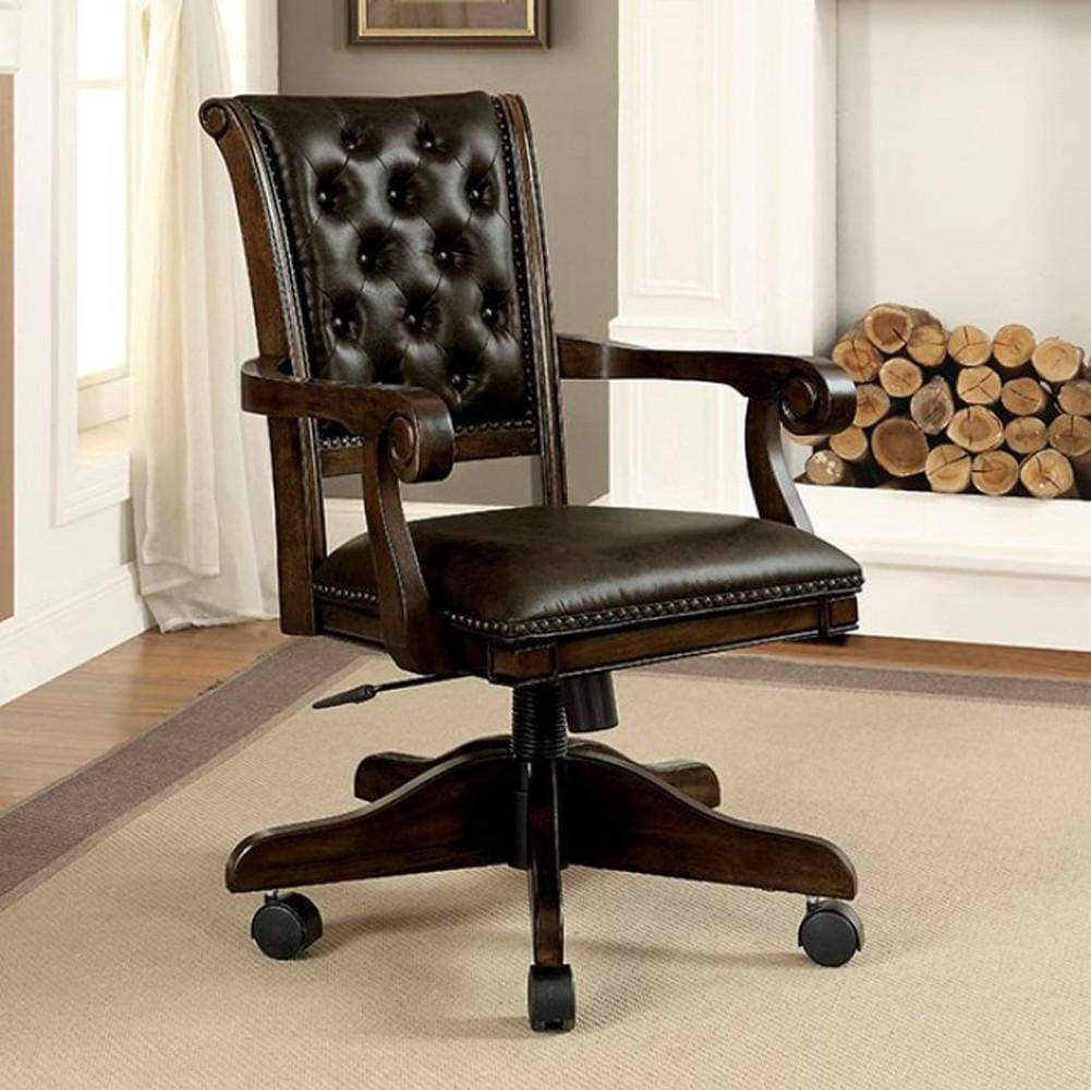 Kalia Contemporary Arm Chair, Brown Finish ...