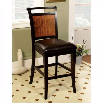 Salida II Transitional Counter Height Chair Withpu Seat, Black & Antique Oak Finish By Casagear Home