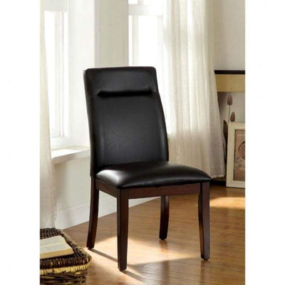 Lawrence Contemporary Side Chair With Bonded Leather, Cherry Finish, Set of 2 By Casagear Home