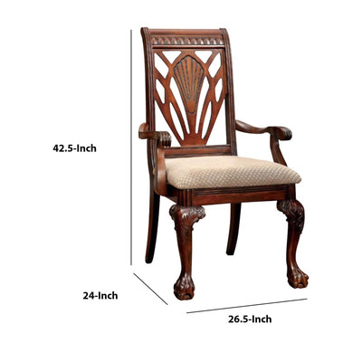 Petersburg I Traditional Arm Chair Cherry Finish Set of 2 FOA-CM3185AC-2PK