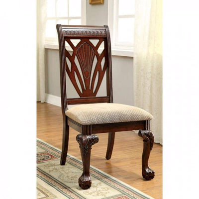 2 Piece Traditional Wooden Side Chair with Fabric Upholstered Seat, Brown and Beige By Casagear Home