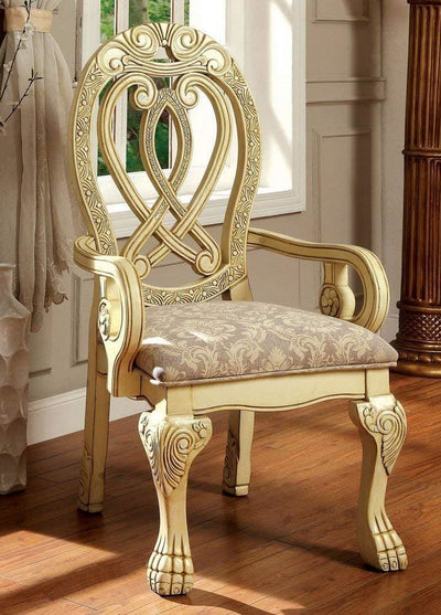 Wyndmere Traditional Arm Chair, Cream Finish, Set of 2 By Casagear Home