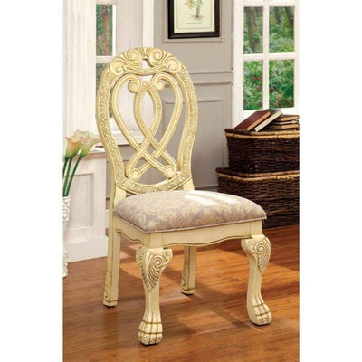 Wyndmere Traditional Side Chair, Cream Finish, Set of 2 By Casagear Home