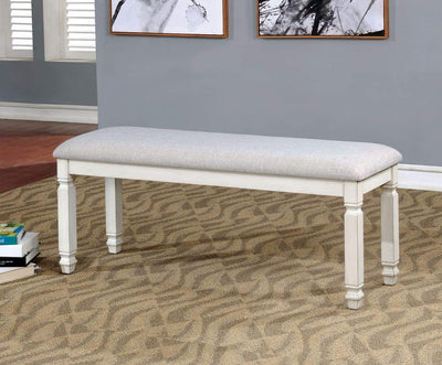 Fabric Upholstered Wooden Bench, White By Casagear Home