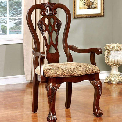 Elana Traditional Arm Chair With fabric, Brown Cherry Finish, Set of 2 By Casagear Home