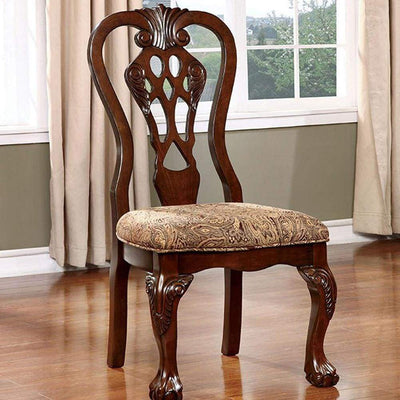 Elana Traditional Side Chair With fabric, Brown Cherry Finish, Set of 2 By Casagear Home