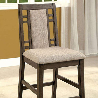 Eris II Transitional Counter Height Chair With Fabric, Gray , Set of 2 By Casagear Home