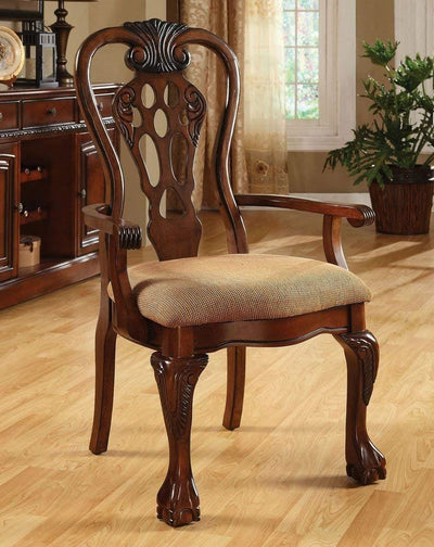 George Town Arm Chair Set of 2 Cherry Finish By Casagear Home FOA-CM3222AC-2PK