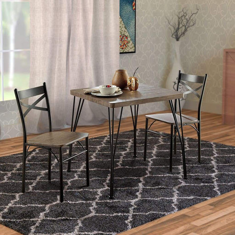 Round Metal Framed End Table with Wooden Top and Riveted Trim Accent, Brown and Black