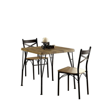 Industrial Style 3 Piece Dining Table Wood And Metal Brown And Black FOA-CM3279T-29-3PK