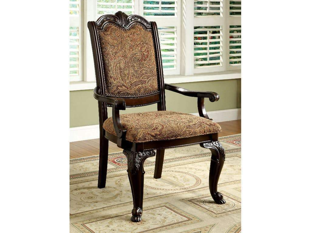 Classic Style Transitional Arm Chair, Cherry Brown By Casagear Home