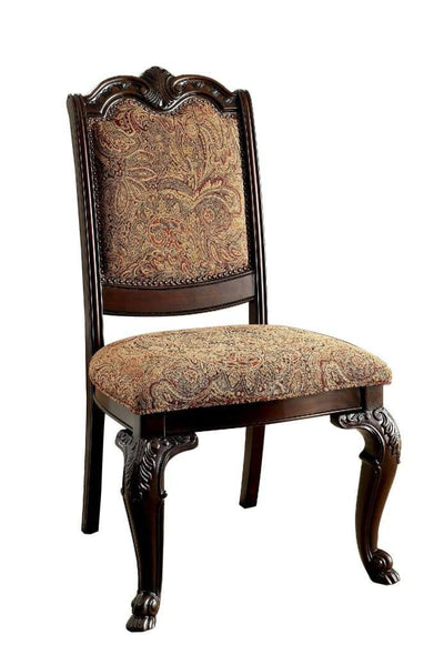 Bellagio Traditional Fabric Side Chair Set Of 2 Brown Cherry Finish By Casagear Home