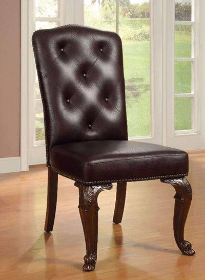 Bellagio Traditional Side Chair With Leather Upholstery Set Of 2 By Casagear Home