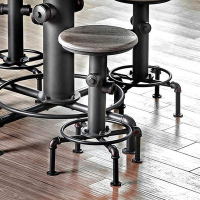 Foskey Industrial Counter Hydrant Chair Set Of 2, Antique Black By Casagear Home
