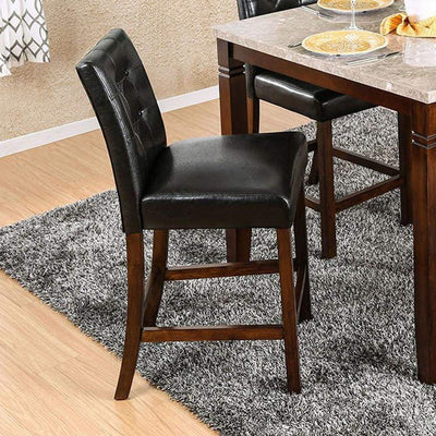 MARSTONE II Transitional Counter Height Chair, Brown Cherry & Black, Set of two By Casagear Home