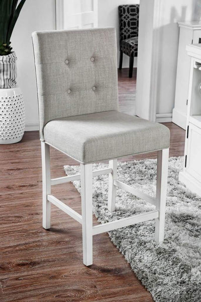 Fabric Upholstered Wooden Counter Height Chair, White And Gray, Pack Of Two -CM3390PC-2PK By Casagear Home