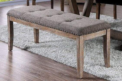Rectangular Shaped Solid Wood and Fabric Upholstered Bench with Nail head Trims , Brown and Gray - CM3429BN