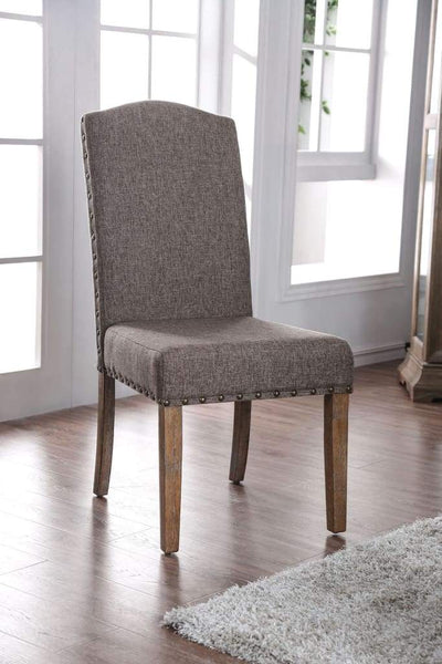 Fabric Upholstered Solid Wood Side Chair with Nail head Trims , Brown and Gray, Pack of Two - CM3429SC-2PK