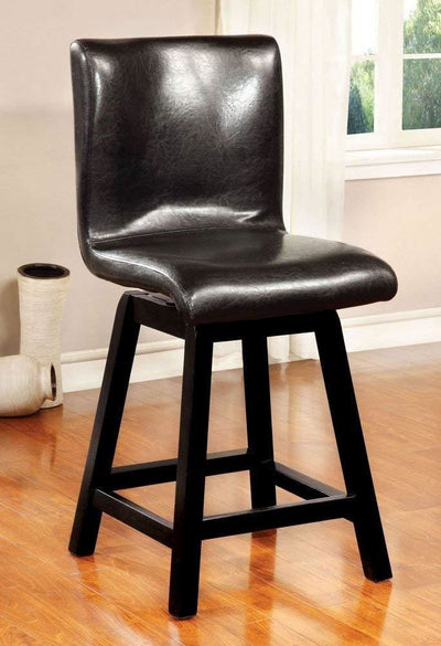 Hurley Counter Height Chair, Black Finish, Set of 2 By Casagear Home