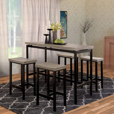 5-Piece Wooden Counter Height Table Set In Natural Brown And Black By Casagear Home