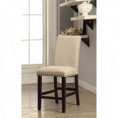 Dodson II Contemporary Counter Height Chair, Ivory and Black, Set of 2 By Casagear Home