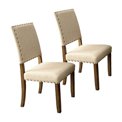 Melston I Industrial Side Chair With Ivory Flax Fabric, Natural Tone Finish, Set of 2 By Casagear Home