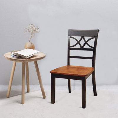 Torrington Cottage Side Chair With Wooden Seat, Black & Oak Finish, Set of 2 By Casagear Home